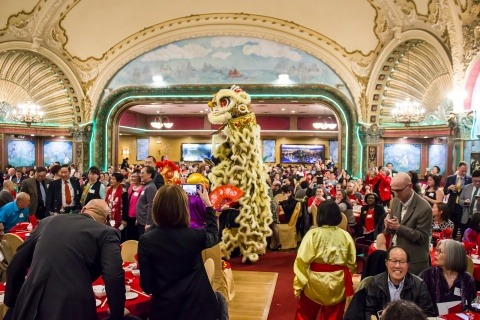 A Chinese Lion Towers Over Our Banquet Celebration